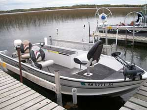 Balsam Beach Resort has a 16ft aluminum fishing boat available for rent.