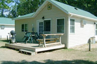 Cabin #3 at Balsam Beach offers 2 bedrooms and a full porch.