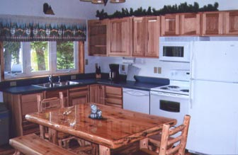 Full featured cabin with full kitchen at Balsam Beach Resort in Northern, MN.